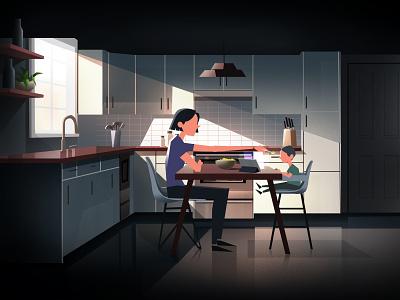 Breakfast Time motion design mother child food meal meat character 2d animation vector dark motion illustration design