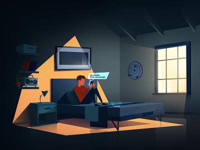 Boy Texting child night loop character 2d animation vector dark motion illustration design