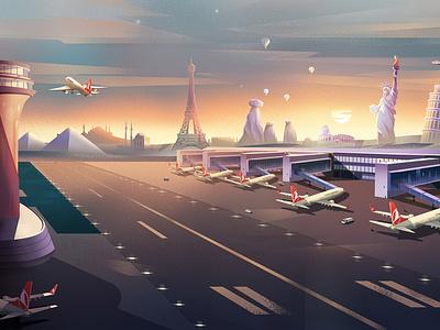 Turkish Airlines Illustrations- 01 airline airport nature landscape digitalart concept art color design character illustration flight artwork background