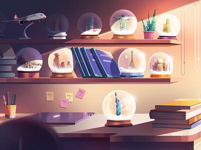 Turkish Airlines Illustrations- 02 book room illustration flight digitalart design art concept color character background artwork airport airline