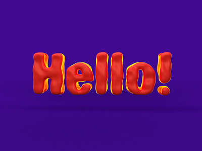 Hello! cute clay render animation font 3d