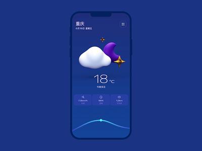 JIGU Weather cute 3d motion animation moon star cloud night dark blue weather ui