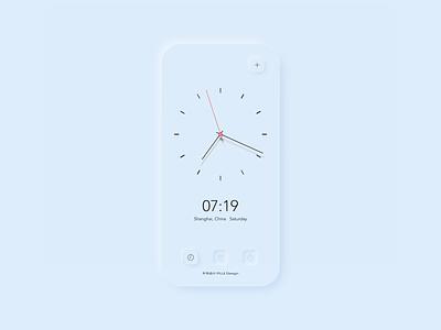 Neumorphism UI time app alarm clock minimalist clean phone ui neumorphism