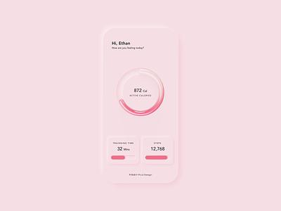 Neumorphism UI simple clean pink health chart fitness neumorphism 3d