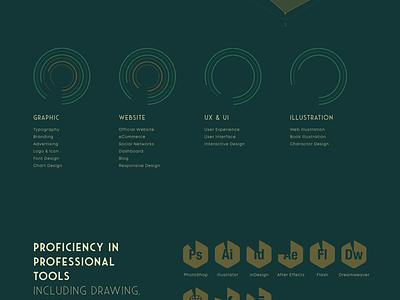 Wewe LIU - Personal Website simple green dark flat webdesign graphic illustration scroll retro designer