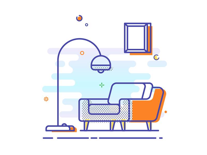 Line Illustration mbe icon line home frame light sofa