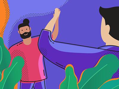 Hello Friend invite pop art line color illustration