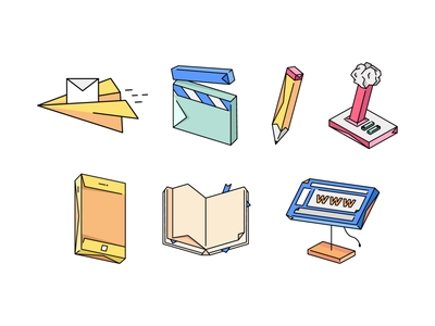 Origami styled icons paperplane iphone phone book site joystick pencil clapper video games email illustration icons design icon design iconography icons set icon set icons icon origami
