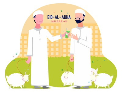 2 People sell and buy goat for celebrate Eid adha