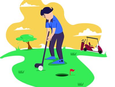 People on Golf Field in Summer