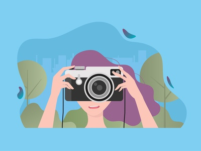 Woman take a picture with camera