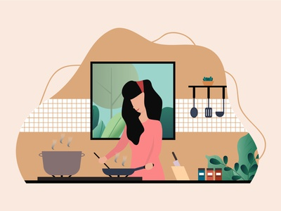 Woman still cooking on the kitchen