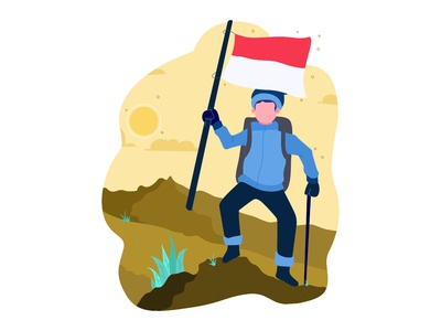 Man with Indonesian flag on mountain top