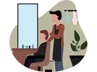 Barberman has cut hair customer