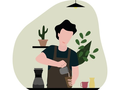 Barista preparing drip coffee in local coffee shop