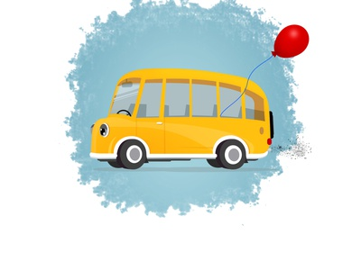 Bus Illustration kids children character cartoon graphic design texture style illustration drawing art bus 2d