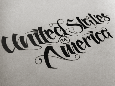 USA (Script Practice) usa script lettering ink paper