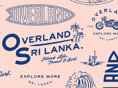 OVERLAND - SRI LANKA script branding logo design illustration motorcycle indonesia waves palms lettering brand assets badge surf sri lanka