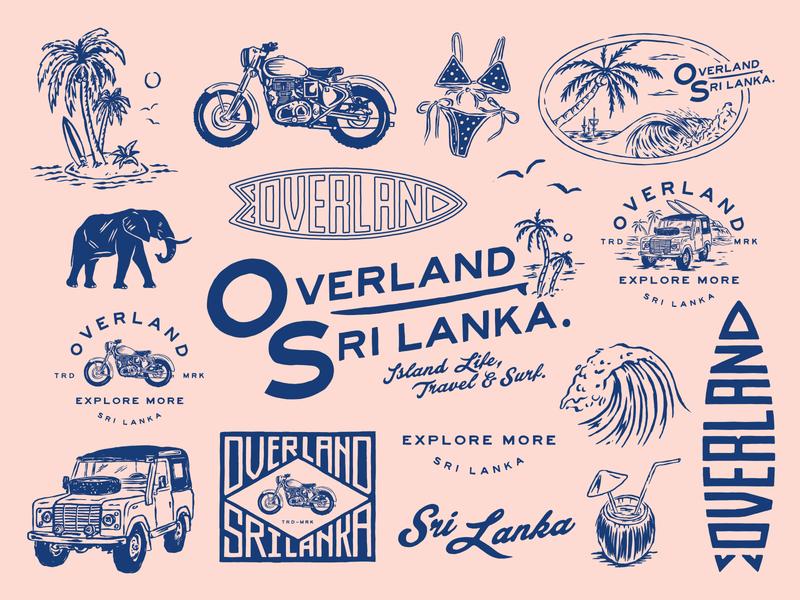 OVERLAND SRI LANKA vacation brand assets lockups vintage wave bikini land rover badge design surf beach script branding badge sri lanka motorcycle lettering design type illustration