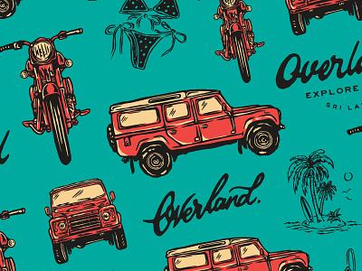 PATTERN / OVERLAND SRI LANKA pattern outdoor island sri lanka bikini vintage royal enfield land rover typography script calligraphy letters motorcycle lettering design illustration