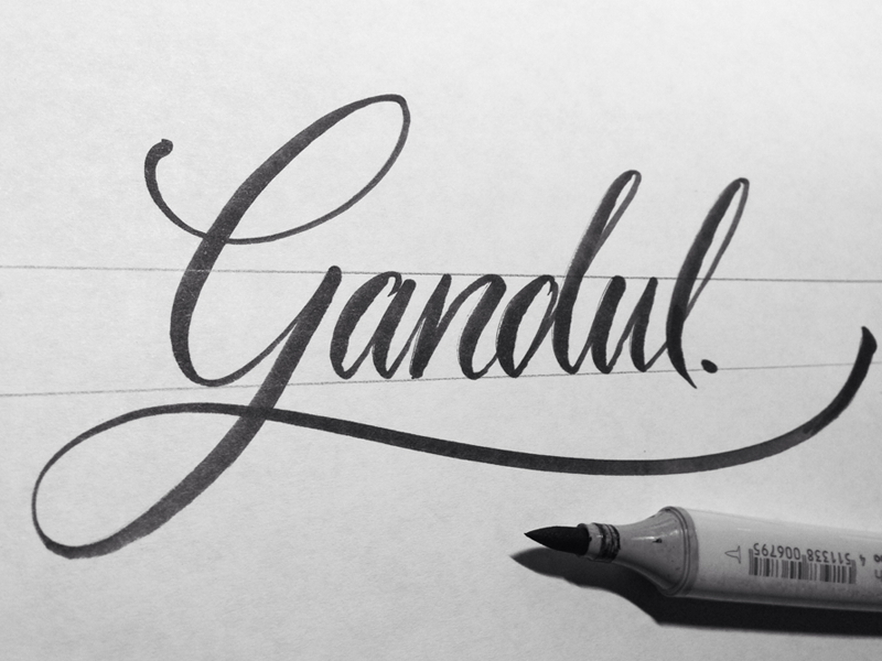 Gandul lettering letters type typescript script typography contest copic handmade