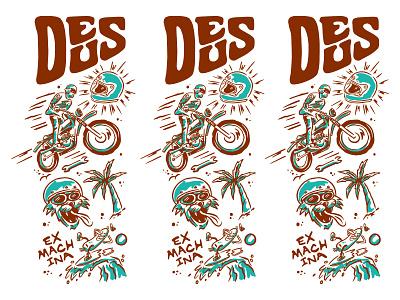 DEUS QUARANTEE COLAB COMP - LIFE 01 surf waves apparel tee shirt design script letters lettering illustration helmet cat deus ex machina motorcycle