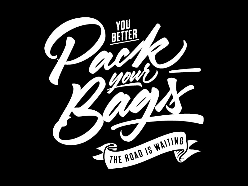 Pack Your Bags, t-shirt esign music rock lettering type is power type handtype handmade script logo hardcore band