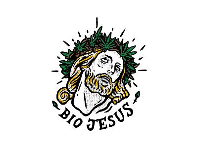 Bio Jesus / 04 jesus world design marihuana bio jesus sticker cannabis illustration