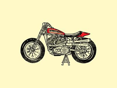 Harley Davidson XR-750, 1972 vintage motos motorcycle life illustration flat track race racing motorcycle xr750 harley davidson