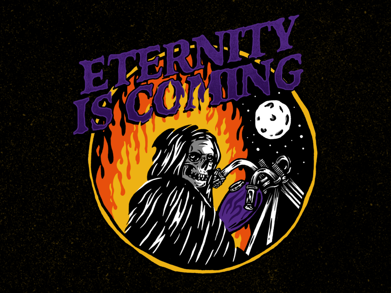 ETERNITY IS COMING... illustration eternity harley davidson type is power fire craneo skull misfits chopper motorcycle