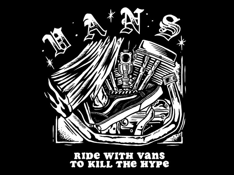 RIDE WITH VANS ride reaper california off the wall sneaker sneakerhead hypebeast hype t shirt artwork lockup badge illustration illustrator vans