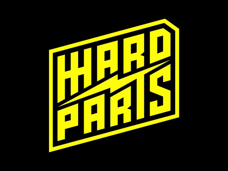 HHARD PARTS LOGO logotype brand design branding illustration motorcycle garage badge lockup logo brand assets choppers script lettering lightning thunder