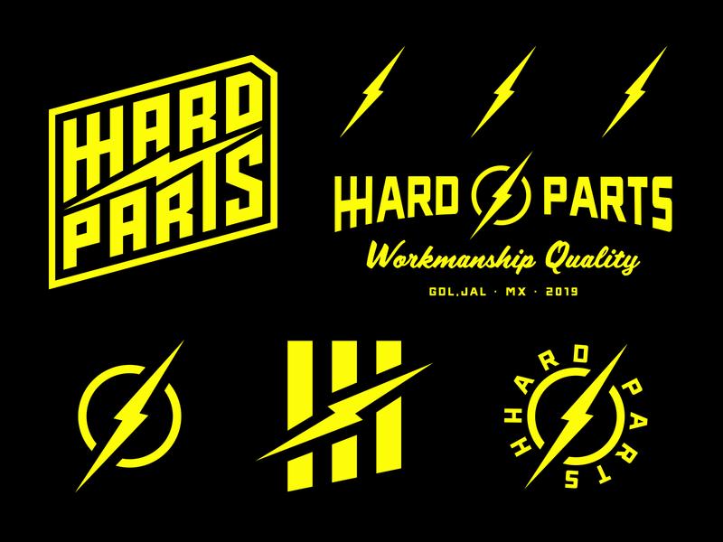 HHARD PARTS BRAND ASSETS logotype brand design branding illustration motorcycle garage badge lockup logo brand assets choppers script lettering lightning thunder