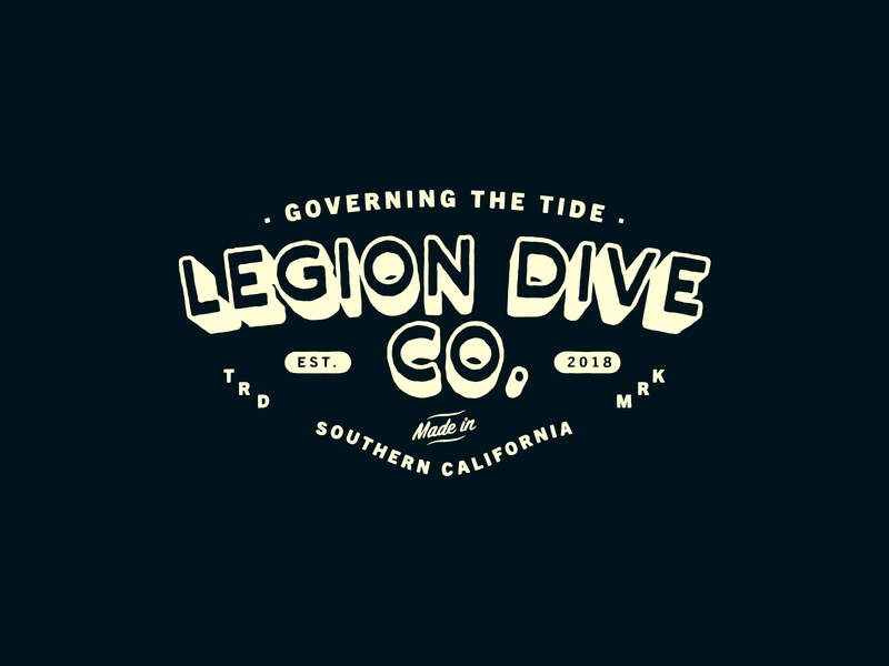 LEGION DIVE CO. / BADGE DESIGN letters brand indentity typography clothing brand california dive badge brand lockups branding t-shirt san diego