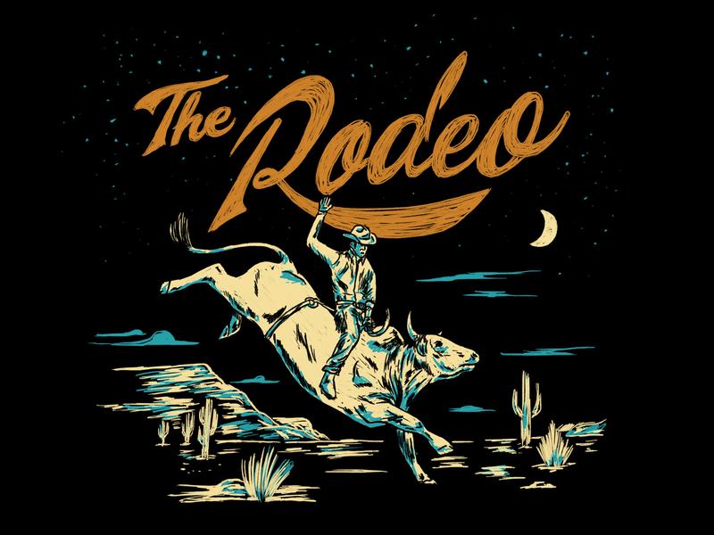 VERY VAQUERO / THE RODEO design concept clothing brand t shirt artwork art illustrations vaquero rider vintage illustration mexico texas desert bull cowboy rodeo ranch