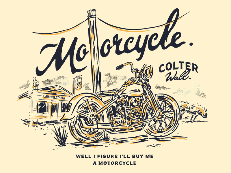 MOTORCYCLE SONG design lettering illustration artwork fanart motorcycle art western desert colter wall song liquor store harley davidson knucklehead cowboys mountains country music motorcycle