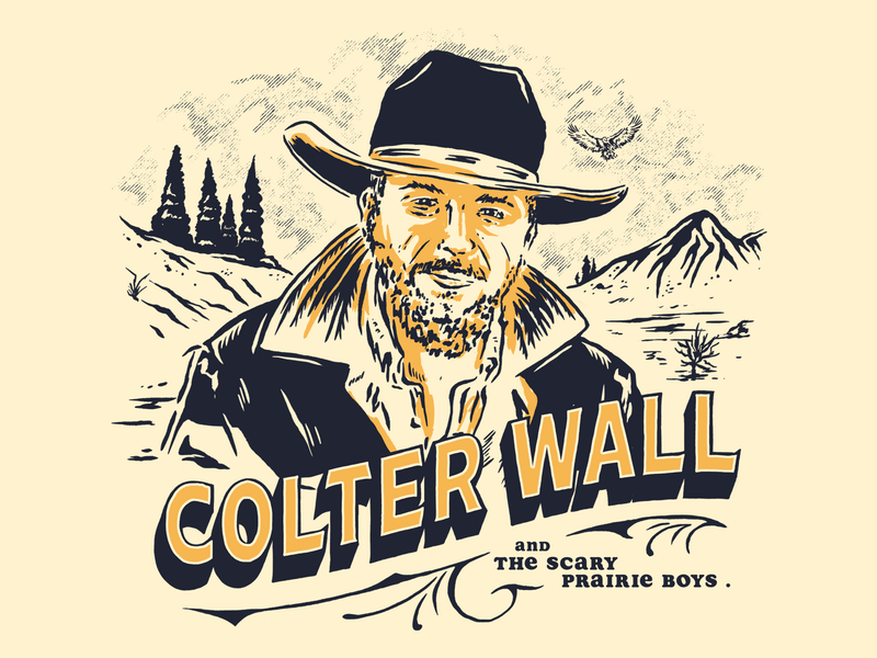 COLTER WALL AND THE SCARY PRAIRIE BOYS texas desert country music badge lettering design landscapes artwork ranch cowboys portrait illustration music nature mountains country colter wall