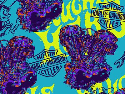 KNUCKLEHEAD PATTERN rock and roll letters lettering vintage badge pattern design motorcycles engine knucklehead harley davidson vector branding motorcycle design illustration