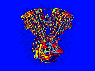 SHOVELHEAD ENGINE choppers vintage badge script harley-davidson branding letters motorcycle lettering type design illustration