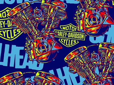 SHOVELHEAD PATTERN art direction artwork pattern chopper branding vintage harley davidson badge mexico calligraphy letters motorcycle lettering design type illustration