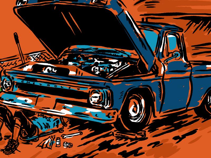 Radical Garage vintage pickup truck mechanic garage artwork graphic design clothing brand chevrolet vector logo motorcycle design illustration