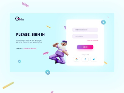 Sign in form for an online store GAMING form ecommerce sign in design web ux ui