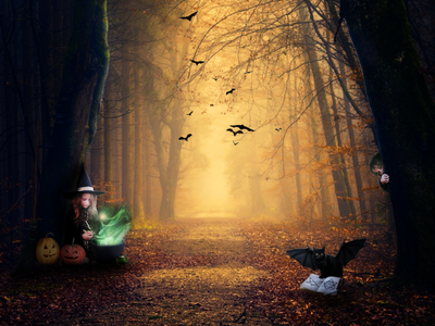 Halloween shot in matte painting technique collage halloween design halloween photoshop mattepainting design