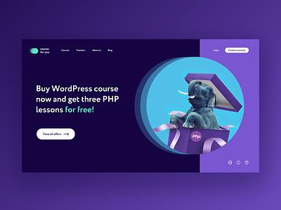 Online courses promo website colorful color palette backend php onlinecourse landing page web ux ui design