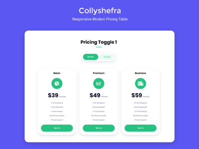 Collyshefra - Responsive Modern Pricing Table resume portfolio freelancer bootstrap website design ux ui web design responsive pricing table pricing modern js html form css animate