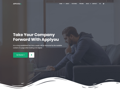 Applyou - App Landing Page unique freelancer design bootstrap web design technology software saas landing saas one page mobile app marketing landing page clean bootstrap 4 app ui app