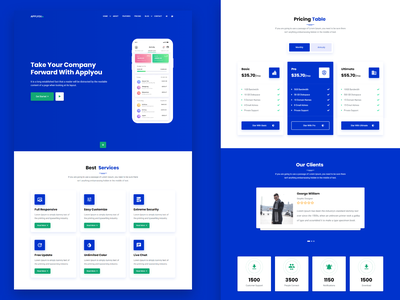 Applyou - App Landing Page app design ui design freelancer portfolio logo technology software saas landing saas one page mobile app marketing landing page clean bootstrap 4 app ui app