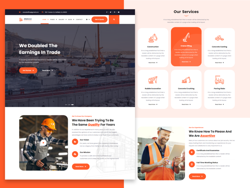 Anaula - Construction Template portfolio bootstrap freelancer agency unique painter engineers electrician corporate construction company construction business construction business building builder architecture