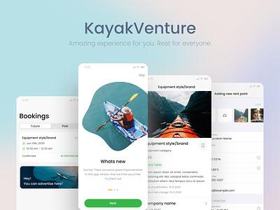 Mobile app: KayakVenture apple ios rental design figma flat minimal ui ux application app marketplace app softvoya marketplace