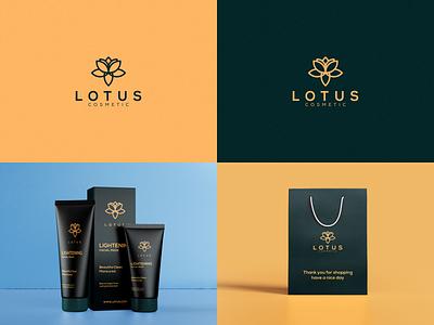 Lotus Cosmetic Logo typography icon illustrator lettering illustration flowdesign6 monogram logo branding design lotus